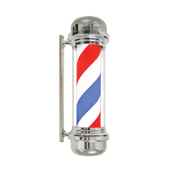 Agenda Traditional Barbers' Poles - Red, White, Blue, Chrome